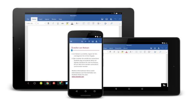 Word für Android ist optimiert für alle Größen