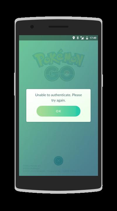 Bei Pokemon GO erhält man eine wenig aussagende Fehlermeldung.