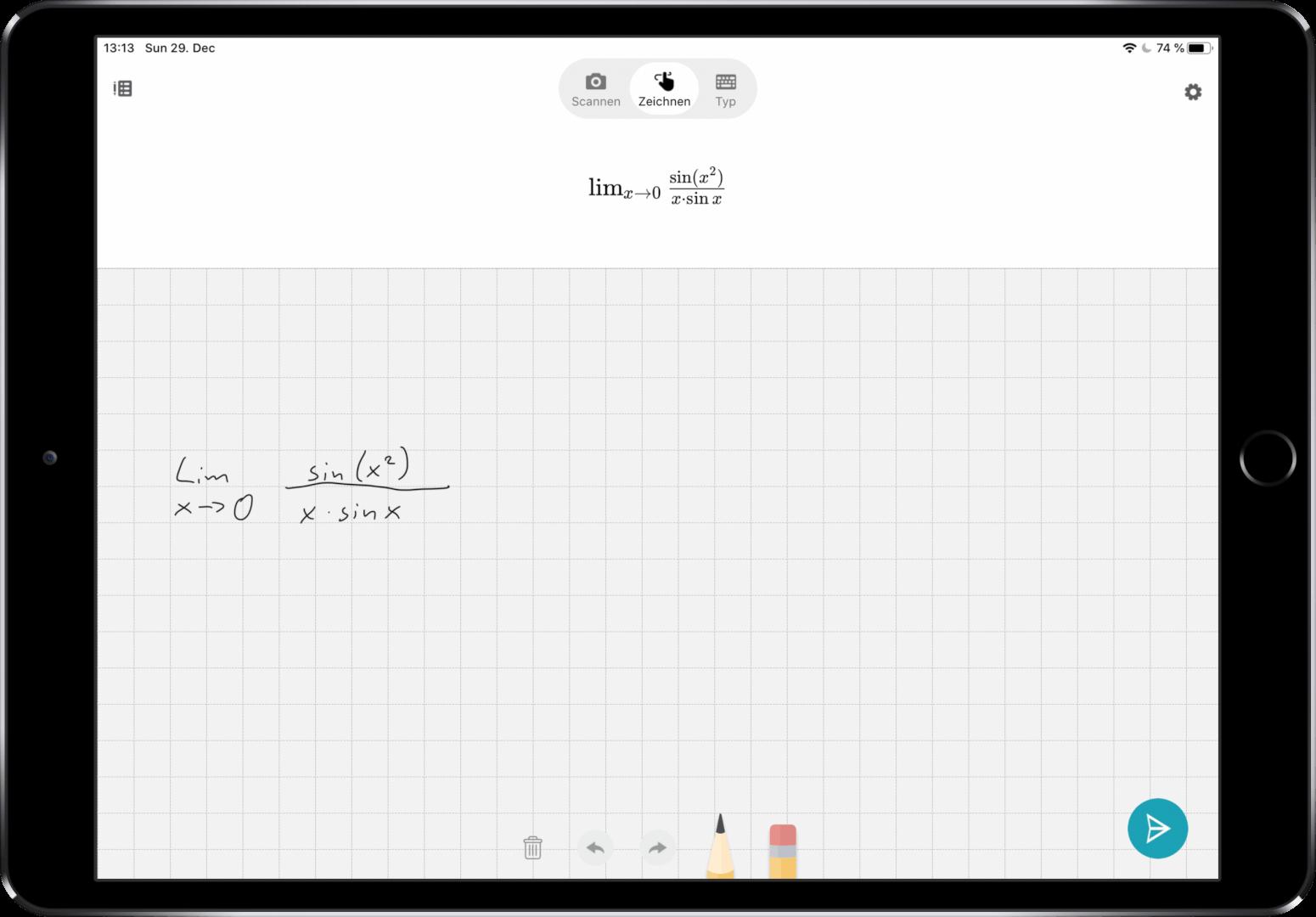 Microsoft Math Solver Handschrifterkennung