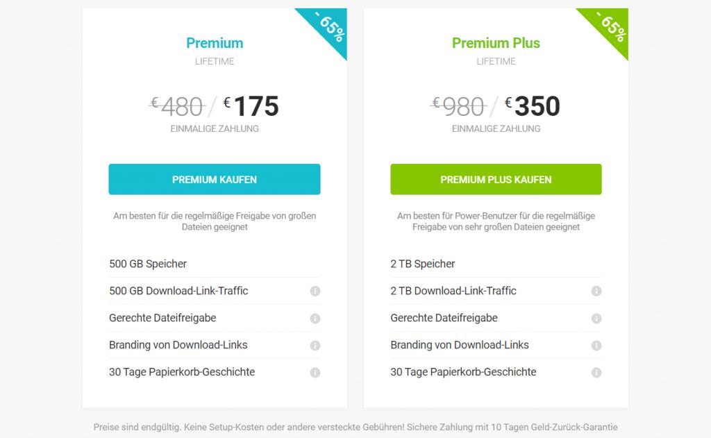 Preise von pCloud in der Übersicht