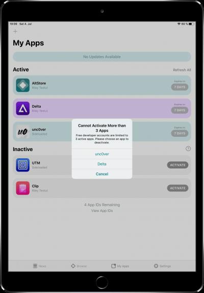 AltStore Limit - nur 3 Apps gleichzeitig möglich